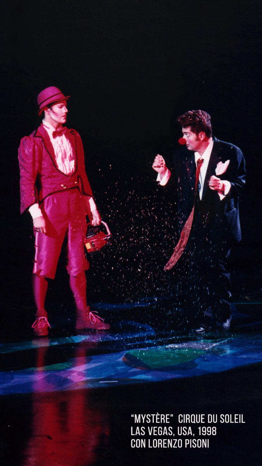 Alex Navarro y Lorenzo Pisoni en Mystère del Cirque du Soleil 1998
